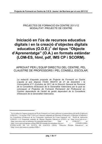 Projectes de Formació en Centres (P - IES Jaume I de Borriana