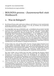 BOLOGNA-process - Zusammenarbeit statt Wettbewerb 1. Was ist ...