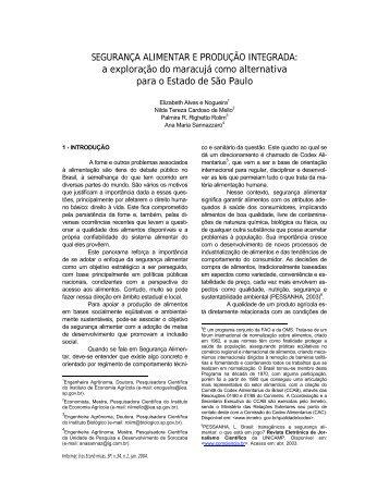 SEGURANÇA ALIMENTAR E PRODUÇÃO INTEGRADA: a ...
