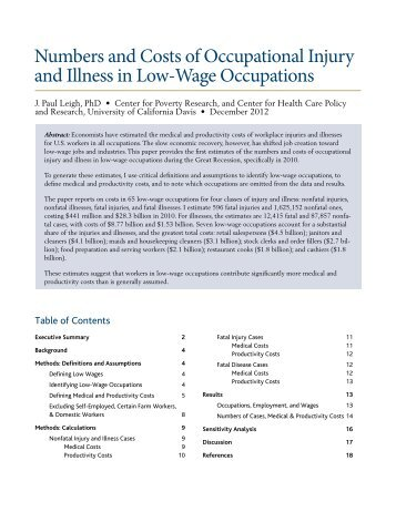 Numbers and Costs of Occupational Injury and Illness in Low-Wage ...