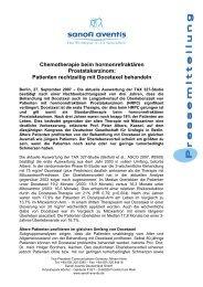 Chemotherapie beim hormonrefraktären Prostatakarzinom - Sanofi