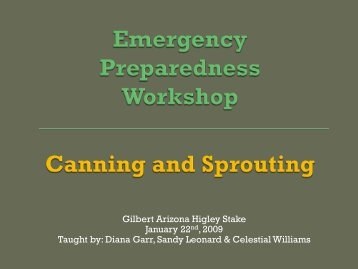 Canning & Sprouting - I Will Prepare