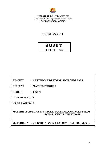 Juin 2011 - Direction des Enseignements Secondaires
