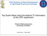 Top Quark Mass using the leptons' PT information at the CDF ...