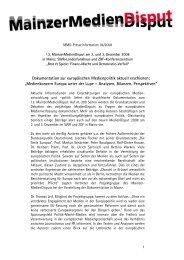 Dokumentation zur europäischen Medienpolitik aktuell erschienen ...
