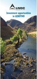 Investment Opportunities Brochure - Lesotho National Development ...