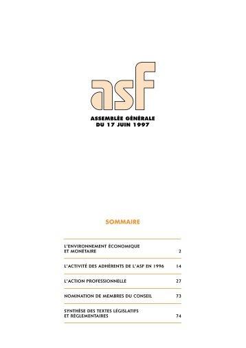 1996 Le rapport annuel de l'ASF - ASF - Association Française des ...