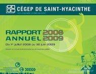 Rapport annuel 2008-2009 (Version PDF) - Cégep Saint-Hyacinthe