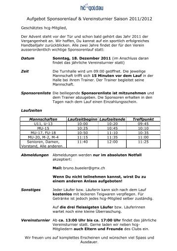 Aufgebot Sponsorenlauf Saison 2007/2008 - Handballclub Goldau