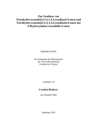 Zur Synthese von Tetrahydro-oxazolo[4,3-c] - Chemie - Universität ...