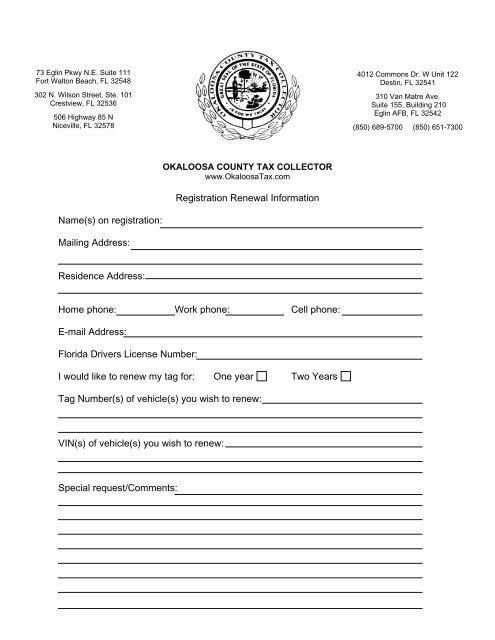 Registration Renewal Information Name(s) on registration: Mailing