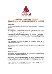 corporate governance policies remuneration and ... - Catalyst Metals
