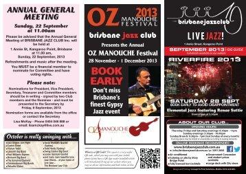 LIVEJAZZ! BOOK EARLY - Brisbane Jazz Club