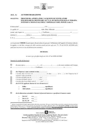 all. a) autodichiarazione - Ospedale di Circolo e Fondazione Macchi