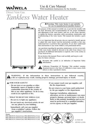 Tankless Water Heater Service Manual Rinnai