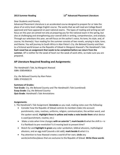 Rising Twelfth Grade AP Literature - Frederica Academy