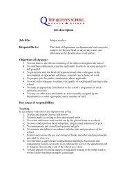 the job description for Senior School teaching staff - The Queen's ...