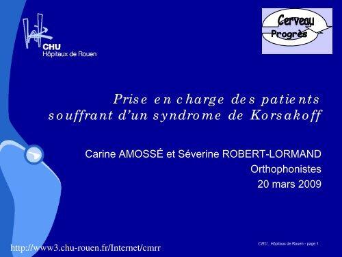 Prise en charge des patients souffrant d'un ... - CHU de Rouen