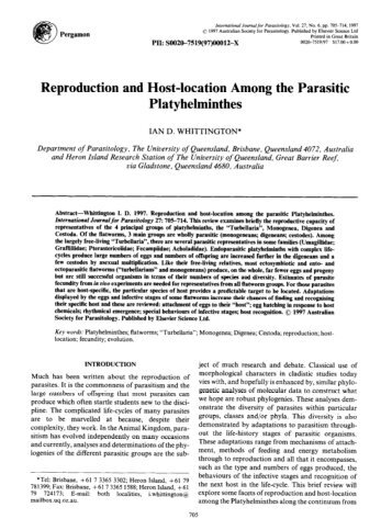 Reproduction and Host-location Among the Parasitic Platyhehninthes