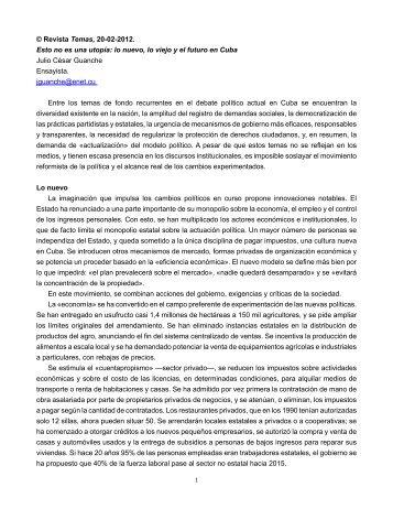 1 © Revista Temas, 20-02-2012. Esto no es una utopía: lo nuevo, lo ...