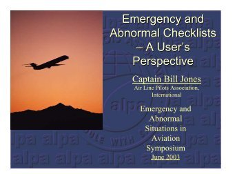 Emergency Checklists from the User's Perspective
