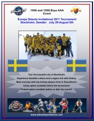 Europe Selects Invitational 2011 Tournament Stockholm, Sweden ...