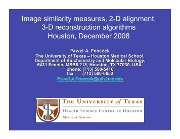 Image similarity measures, 2-D alignment, 3-D ... - NCMI