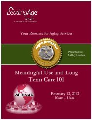 Meaningful Use and Long Term Care 101 - Iowa Association of ...
