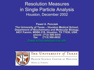 Resolution Measures in Single Particle Analysis - NCMI