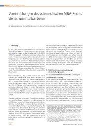 Vereinfachungen des österreichischen M&A-Rechts ... - M&A Review