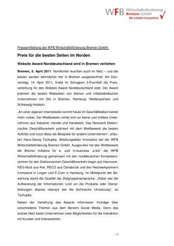 Preis für die besten Seiten im Norden - Bremer Innovations