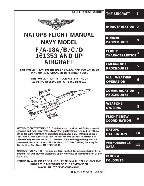 Natops Flight Manual Navy Model F A 18a B C D 161353 And Up Aircraft