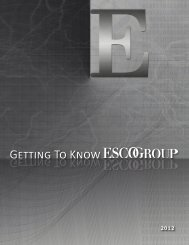 Getting To Know Getting To Know - ESCO Automation