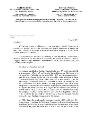 LKA 2/2013 - Office of the High Commissioner for Human Rights
