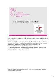 audit familiengerechte hochschule - Gsb.hmtm-hannover.de