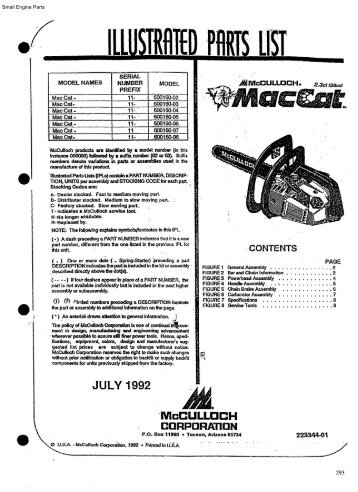 Mcculloch chainsaw mp 370 manual