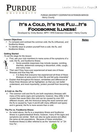 It's a Cold, It's the Flu…It's Foodborne Illness! - IEHA-families.org