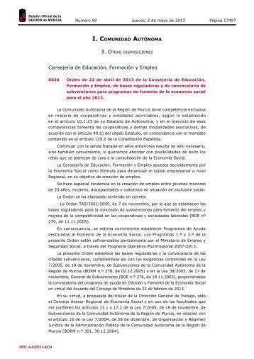 Orden de 22 de abril de 2013 - Boletín Oficial de la Región de Murcia