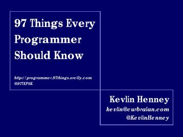 97 Things Every Programmer Should Know - Jazoon