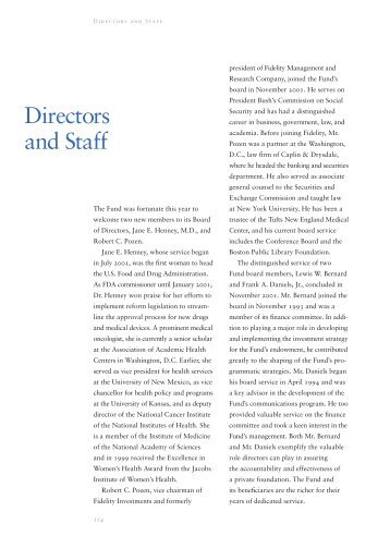 Directors and Staff - The Commonwealth Fund