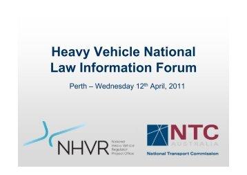 Perth NHVL Forum 13th April - National Transport Commission