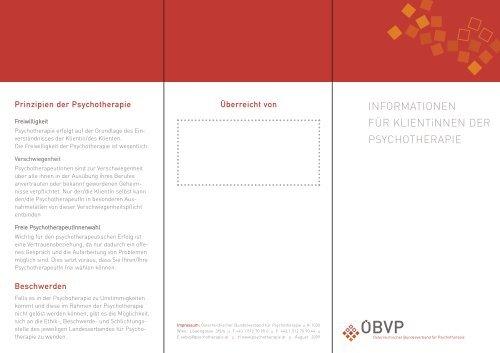 Informationen für KlientInnen der Psychotherapie - Österreichischer ...
