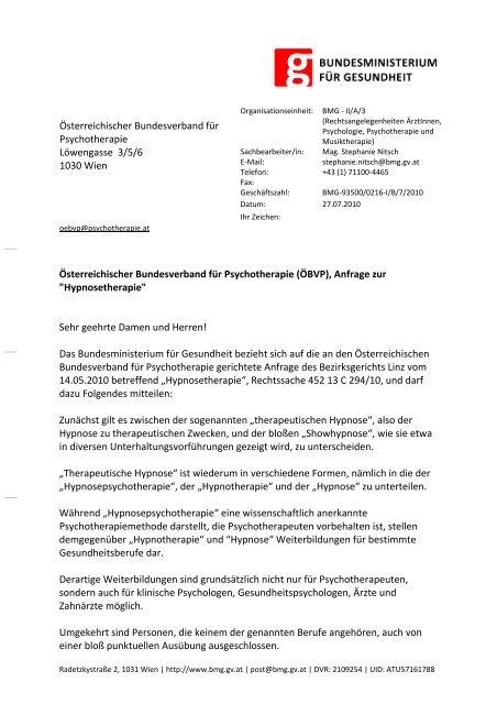 Hypnose - Österreichischer Bundesverband für Psychotherapie