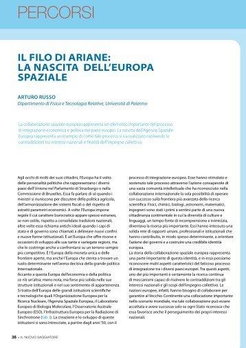 Il fIlo dI ArIAne: lA nAscItA dell'europA spAzIAle - Società Italiana di ...