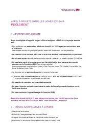 Règlement - Appel à projets Entre les lignes - Fondation ... - Mecenova