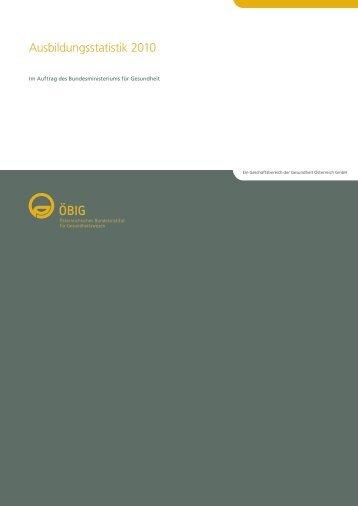 Ausbildungsstatistik 2010 - Österreichischer Bundesverband für ...