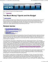 Too Much Money? College Sports and the Budget - Jvlone.com