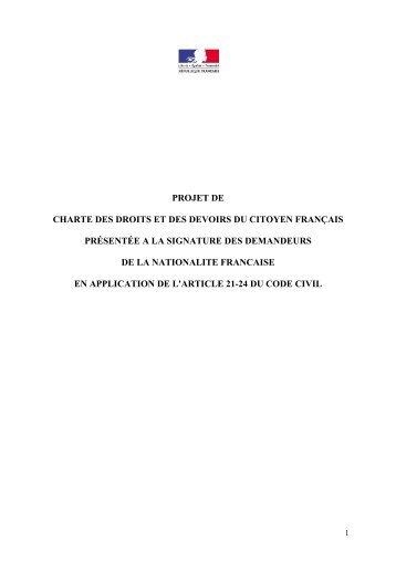 projet de charte des droits et des devoirs du citoyen ... - Le Figaro