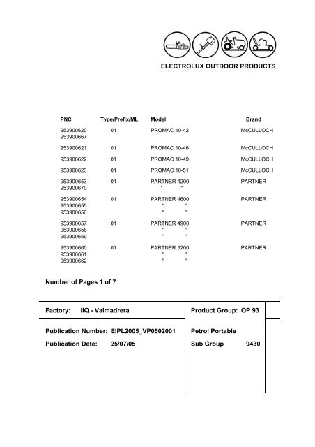 McCulloch Chainsaw Parts List V0502001 - Barrett Small Engine