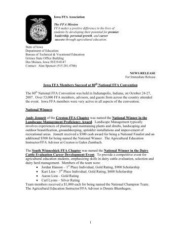 2007 National FFA Convention Press Release (PDF)